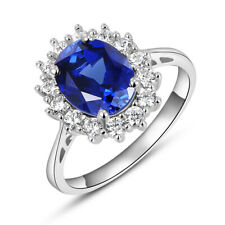2.5CT Oval Blue Sapphire White Topaz 925 Sterling Silver Gemstone Ring Size 5-12
