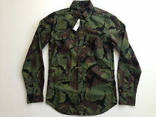 J. Crew Canvas Camo Shirt Camouflage Green Black Brown Mens Slim Fit NWT $98
