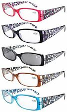 Spring Hinge Plastic Reading Glasses (5 Pairs), Includes Sunglass Readers ER040