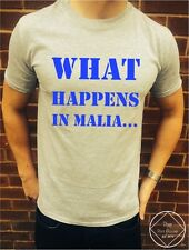 What Happens In Malia T Shirt Tee Top Vest / Girls Lads Holiday Summer Funny TV