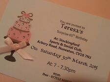 Handmade Birthday Cake Birthday Invitations - Personalised to Order