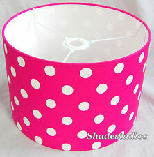 Hand Made Cerise Pink Cotton Lampshade With White Polka-Dot Design