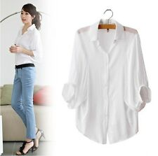 Womens Lapel Batwing Sleeve Solid Cotton Button Down Casual Shirt Blouse S-XXL