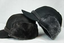 NEW100% Sheepskin Shearling Leather Trapper Elmer Fudd Hunting Aviator Hat M-2XL