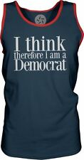 I Think Therefore I am a Democrat (White) Mens Contrast Singlet Tank-Top T-Shirt