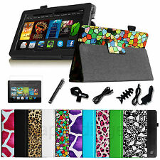 7IN1 Folio PU Leather Case Stand Cover for 2013 All-New Kindle Fire HD 7 +Bundle