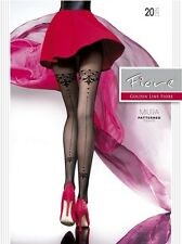 Fiore Miura 20D Tulle Backseam Patterned Sheer Tights (size S, M, L)  Pantyhose