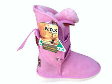 Australian Made Genuine sheepskin Lady UGG Boots Front with Ribbon Rose Red