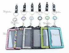 5 mm Crystal Watch 2 IN 1 Vertical ID Badge Holder Key ring with Metal Clip