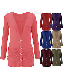Women,s Long Sleeve Button up Boyfriend Ruched Pocket Ladies Cardigan Size 8-14