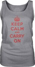 Keep Calm and Carry On (Red) Womens Singlet Tank-Top T-Shirt