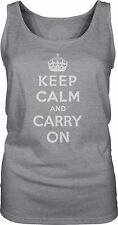 Keep Calm and Carry On (White) Womens Singlet Tank-Top T-Shirt