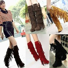 Women's Winter Fashion Knee High Boots Swet Lady Fringe Tassels Sexy High Heels