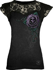 Spiral Direct POISON ROSE Lace Layered Cap Sleeve Top, Purple Rose Skull Goth