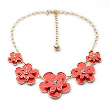 Grils Lovely Fashion  Candy Color Blooming Petal Pentand Statement Necklace Hot