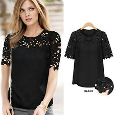 Women Summer Loose Casual Short sleeve Vest Shirt Tops Blouse Ladies Top S-XL