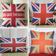 UK Union Jack United Kingdom National Flag Linen Pillow Case Throw Cushion Cover