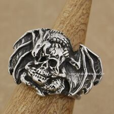 316L Stainless Steel Huge Dragon Skull Mens Biker Ring AF02D
