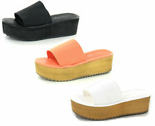 LADIES SPOT ON LYCRA SLIP ON OPEN TOE PLATFORM WEDGE MULE SANDALS F10125