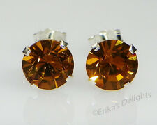 (3mm - 10mm) Crystal Amber Sterling Silver Earrings Using Swarovski Elements