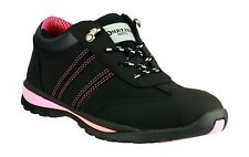 Trainers Womens Leather Safety Work Black Pink Amblers Steel Toe Cap FAB763 US10