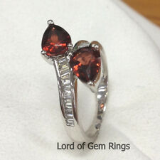 Two Pear Cut 1.11ctw Red Garnet Channel Diamonds Engagement Ring,14K White Gold