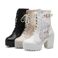 Ladies Punk Gothic Lace Up Chunky Heels Platform Ankle Boots Shoes Combat Boot