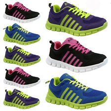 LADIES WOMENS GIRLS SPORTS GYM JOGGING RUNNING CASUAL TRAINERS TRAINER SIZE 3-8