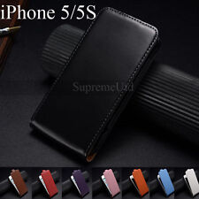 Genuine Smooth Leather Top Flip iPhone 5 5S Case Generic Plain Cover Holder