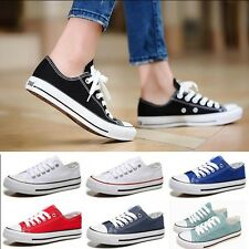 Womens Low Help Sneakers Classic Lace Up Canvas Casual Flat Plimsoll Shoes New
