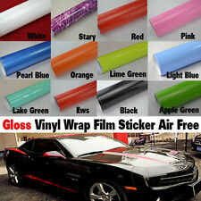 Gloss Glossy Car Vinyl Wrap Film Roll Wall Paper Sticker Bubble Air Free DIY New