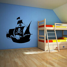 PIRATE SHIP SKULL AND CROSSBONES JOLLY ROGER BOAT Vinyl wall art sticker decal