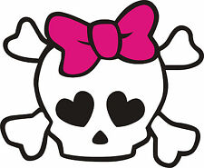 """Girly Skull and Crossbones with PINK Bow Decal- Exterior Window Decal 5""""x5.5"""""""