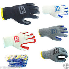 Lot 1 or 8 Pairs Palm Latex Rubber Coated Work Gloves Heavy Duty 1Size Fit All
