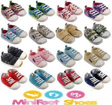 MINIFEET CANVAS BABY SHOES 0-6, 6-12, 12-18 & 18-24 MONTHS