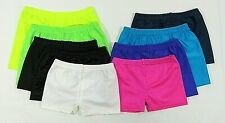 Girls Ladies Womens Shorts Hotpants Cycle Dance PE Gymnastics Lycra Shiny Hot