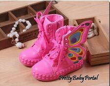 NEW Baby Kids Girl Children Butterfly Wings Sneakers Shoes Boots Canvas