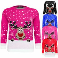 KIDS GIRLS BOY KNITTED REINDEER CHRISTMAS RUDOLF XMAS NOVELTY JUMPER SWEATER TOP