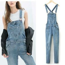 New Womens Fashion Washed Denim Straps Overall Jeans Pants Jumpsuits Trousers