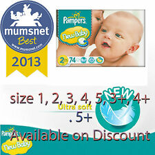 Pampers New Baby Size 1, 2, 3 +, 4 +, 5  +, 6  (Mini) Jumbo Pack Nappies