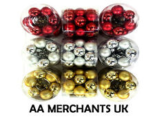 18 PACK CHRISTMAS XMAS SHATTERPROOF BAUBLE TREE DECORATIONS 30MM-RED GOLD SILVER