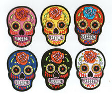 SUGAR SKULL IRON PATCH SKELETON BONE ROCK PUNK APPLIQUE EMBROIDERED PLAIN