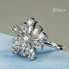 18K WHITE GOLD GF SWAROVSKI CRYSTAL WEDDING BAND ENGAGEMENT RING ELEGANT