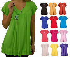 Womens Frill Necklace Gypsy Tunic Short Sleeve V Neck Tops Plus Sizes 12-24