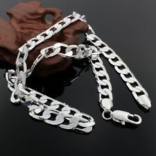 """Cool 925Sterling Silver Flat Sideway Gentle Men's Chains Necklace 10MM 18""""-24"""""""