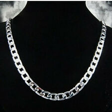 "Cool 925Sterling Silver Flat Sideway Gentle Men's Chains Necklace 10MM 18""-24"""