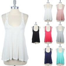 High Low Hem Lace Detail A-Line Tank Top Sleeveless Scoop Neck Solid Rayon S M L