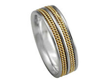 2TONE PLATINUM 18K YELLOW GOLD  ROPE 7.5mm COMFORT FIT WEDDING BAND