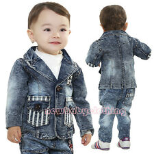 2014 Fall New Fashion Cool Baby Boy Clothes 2PCS Denim Jacket+Jeans Outfits 0-2Y
