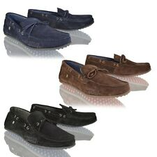 MENS DRIVING SHOES REAL SUEDE LEATHER MOCCASIN SLIP ON CASUAL FIRETRAP LOAFERS